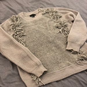Banana Republic Gray Sweater with Fringe